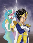 crossover dragon_ball_z peichenphilip princess_celestia saiyan vegeta