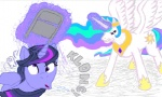 chair flockdraw magic parodius princess_celestia twilight_sparkle violence