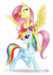 bow flutterdash fluttershy highres rainbow_dash shipping theflyingmagpie traditional_art