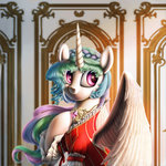 absurdres braids chryseum digital_painting dress highres manecut princess_celestia robe