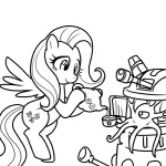 crossover dalek doctor_who fluttershy lineart madmax tea