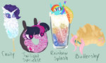 bread buttershy candy doughnut fluttershy food pun rainbow_dash rarity soda species_swap sugaryboogary tagme twilight_sparkle twilight_sprinkle