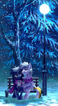 bench coffee highres holivi magic nighttime original_character scarf snow snowing trees winter