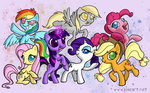 applejack derpy_hooves fluttershy joieart magic main_six pinkie_pie rainbow_dash rarity twilight_sparkle