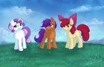 apple_bloom cutie_mark_crusaders ronnie-wolf scootaloo sweetie_belle