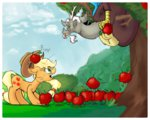 angry applejack apples discord evedon hat huge_jerk tongue tree