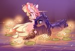 bird duck flowers highres pond princess_celestia princess_luna shore2020 water