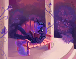 bench book flowers holivi princess_luna reading slacking_is_magic