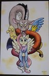 discord fluttershy helicityponi highres traditional_art