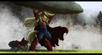 apple_bloom applejack highres ncmares rock superheroes superman sweetie_belle