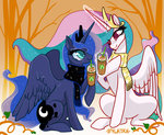highres magic opalacorn princess_celestia princess_luna scarf