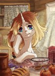 apples bowl bread highres koviry original_character spoon