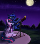 highres longinius-ii princess_luna princess_twilight scarf telescope twilight_sparkle