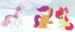 apple_bloom cutie_mark_crusaders magic scootaloo snow snowball snowball_fight sweetie_belle txlegionnaire winter