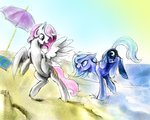 beach highres princess_celestia princess_luna silfoe umbrella young