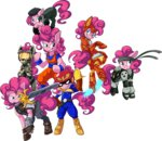 britishstarr costume dragon_ball f-zero final_fantasy halo highres iron_man metal_gear_solid pinkie_pie resident_evil sword transparent weapon