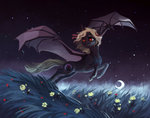bat_pony flowers flying highres moon nighttime original_character stars weird--fish