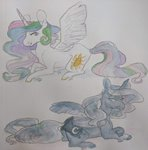 alabasterpeony highres princess_celestia princess_luna traditional_art