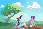 absurdres flowers gardening glasses hat highres humanized lilfunkman magic rarity sunglasses tree twilight_sparkle