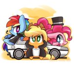 applejack car hat jacket mackinn7 pinkie_pie rainbow_dash tophat