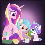 absurdres cozy_glow highres mug princess_cadance princess_flurry_heart sick tissue vectorvito whammy