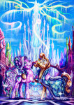 absurdres cape crystal_empire crystal_ponies crystallized glasses highres jowybean starlight_glimmer sunburst