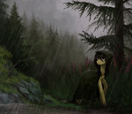 absurdres cloak forest highres koviry original_character rain trees