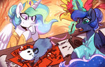 clothes colorfulcolor233 highres magic paintbrush philomena princess_celestia princess_luna tiberius