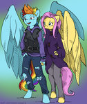anthro flutterdash fluttershy mustlovefrogs piercing rainbow_dash shipping