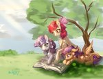 apple_bloom book cutie_mark_crusaders mrdelta1 scootaloo sweetie_belle tree