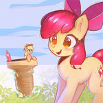 apple_bloom applejack ice_cream mirroredsea mug pencil sunset_shimmer