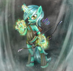 armor bipedal bow_(weapon) hands lyra_heartstrings magic munadrake quiver weapon
