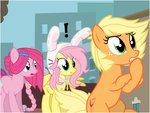 alternate_universe applejack flashequestria fluttershy manehattan personality_swap pinkie_pie ultimare_universe