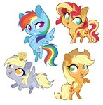 applejack dennyvixen derpy_hooves rainbow_dash sunset_shimmer