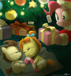 christmas coat hat johnjoseco pinkie_pie pound_cake present pumpkin_cake santa_hat sleeping