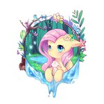 angel bird butterfly flowers fluttershy highres nitrogenowo squirrel trees