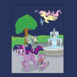 bench bird book fluttershy flying fountain gintoki23 lyra_heartstrings princess_twilight spike sweetie_drops tree twilight_sparkle