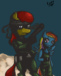 apple_bloom highres meryl_silverburgh metal_gear_solid rainbow_dash solid_snake tgtf13
