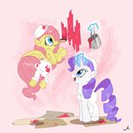 absurdres docwario fluttershy highres magic overalls paint paintbrush painting rarity