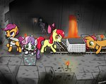 apple_bloom armor babs_seed cart cruxtar cutie_mark_crusaders diamond_tiara highres minecraft pickaxe scootaloo silver_spoon sweetie_belle sword torch weapon