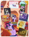 art berry_punch book detective flowers janeesper magic minuette mustache paint_brush parody plushie smarty_pants spike the_starry_night toy twilight_sparkle vincent_van_gogh