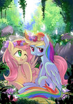 butterfly caibaoreturn flower_crown flowers fluttershy highres rainbow_dash