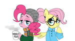 akikodestroyer fluttershy glasses hat hipster manecut mug pinkie_pie ponytail scarf shirt sweater
