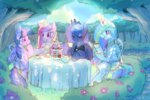 cupcake highres mewball princess_cadance princess_celestia princess_luna princess_twilight sketch tea tea_party teapot twilight_sparkle