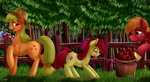 apple_bloom applejack apples big_macintosh highres saddnesspony sweet_apple_acres