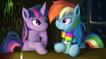 rainbow_dash scarf smittyg twilight_sparkle winter