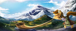 alphorn clothes fidzfox highres instrument mountain original_character scenery