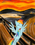 edvard_munch fluttershy foxinshadow parody rainbow_dash the_scream