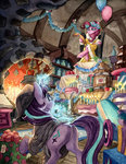 balloon cake candle highres magic pinkie_pie present starlight_glimmer the-wizard-of-art traditional_art