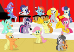 applejack background_ponies band bipedal cello cymbals derpy_hooves drums equestrian_fillyharmonic filly flute fluttershy golden_harvest i_shall_not_use_my_hooves_as_hands instrument lyra_heartstrings lyre main_six octavia_melody piano pinkamena_diane_pie pinkie_pie rainbow_dash rarity shutterflye sweetie_drops the_great_and_powerful_trixie trombone trumpet tuba twilight_sparkle violin xylophone